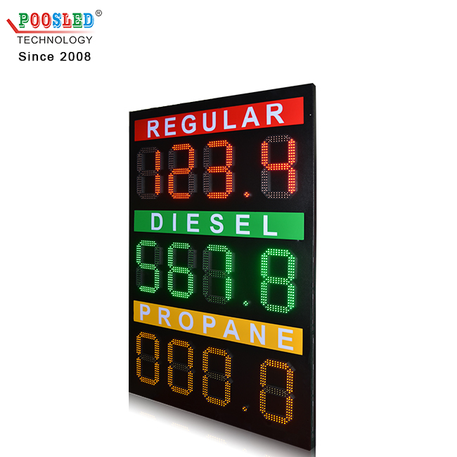 12 inch Red Green gas station sign 888.8 gas price sign