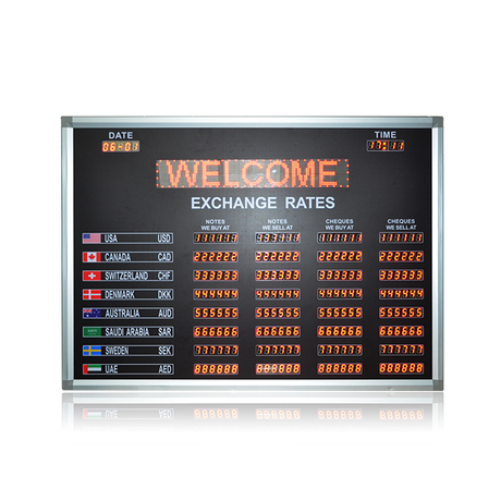 "Top Quality 7 Segment 0.8"" Foreign Exchange Rate Boards for The Bank"