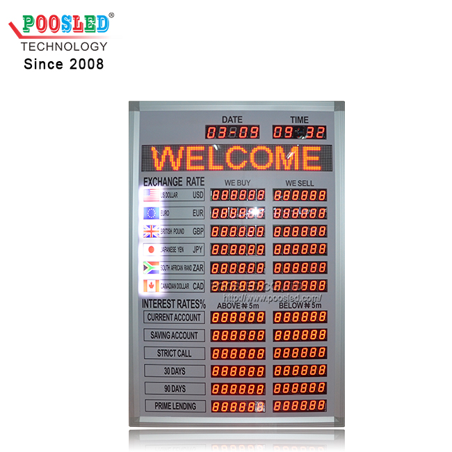 Exchange Rate Board with LED Message Scrolling Sign